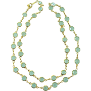 Pale Blue Bezel Set Necklace in Gold tone