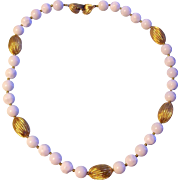 Vintage Lisner White Bead and Gold tone Necklace