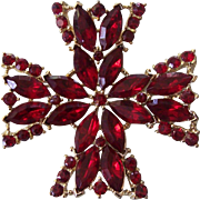 Vintage Weiss Ruby Red Maltese Cross in Gold tone