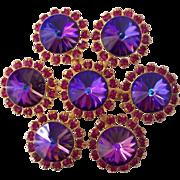 Stunning Violet Rivoli Raspberry Rhinestones Brooch