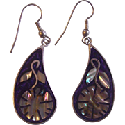Mexican Abalone Flowers on Paisley Shaped Alpaca Earrings
