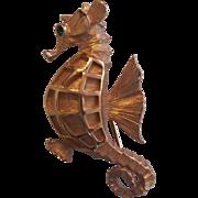 Napier Gold tone Seahorse Brooch