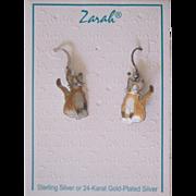 Zarah Enamel Sterling Silver Cat Earrings on Card