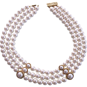 Faux Pearl Triple Strand Necklace with Gold tone Accents