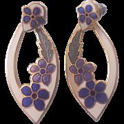 Fish & Crown Floral Enamel Earrings