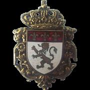 Vintage Coro Heraldic Shield Crest Enamel Brooch Gold tone -As is