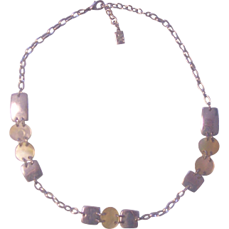 Anne Klein Silver tone Necklace with Mother of Pearl