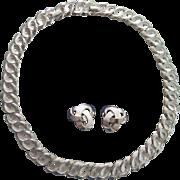 Crown Trifari Silver tone Pinwheel Swirl Necklace + Earrings Set