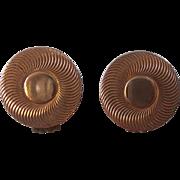 Vintage Ann Vien Classic Bull's Eye Earrings Gold tone