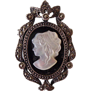 Sterling Silver w/ Marcasite Cameo Brooch Pendant