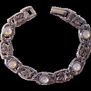 Goldette Faux Opal or Moonstone Silver tone Bracelet