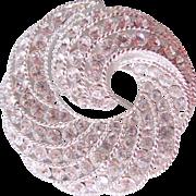 Napier Faux Pave Diamond Pinwheel Swirl Brooch Silver tone