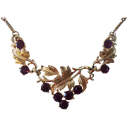 Gorgeous Coro Purple Grapes Necklace in Gold tone