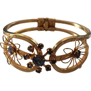 Vintage Gold tone Clamper Floral Rhinestone Bracelet