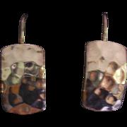 Sterling Hammered Modernist Earrings Silpada