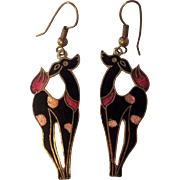 Enamel Deco Style Deer Earrings