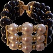 Napier Wide Faux Pearl 3 Row Bracelet