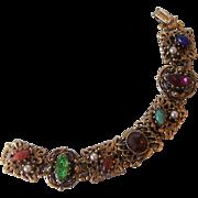 Victorian Revival Jeweled Bracelet Gold tone