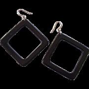 Fun Mod Black Lucite Earrings Open Rectangles