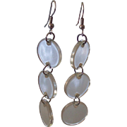 Mod Clear Lucite Dangling Disc Earrings