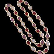 Beautiful Bezel Set Oval Crystal Necklace Goldtone