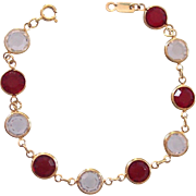 Ruby Red & Clear Bezel Set Crystal Bracelet Gold tone