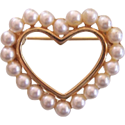Sweet Napier Faux Pearl Heart Pin Gold tone
