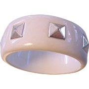 White Hard Plastic Studded Bangle Bracelet