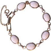 Gold Filled White Scarab Bracelet