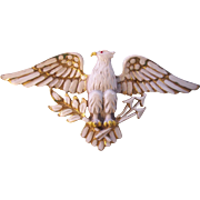 Patriotic Eagle White Enamel Large Brooch