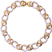 Napier White and Gold tone Link Necklace