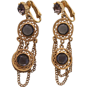 Pr Celebrity Gold tone Dangling Earrings
