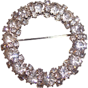 Juliana D & E Circle Wreath Brooch Clear Rhinestones