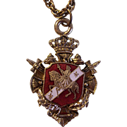 Enamel Heraldic Medallion Pendant Necklace Germany