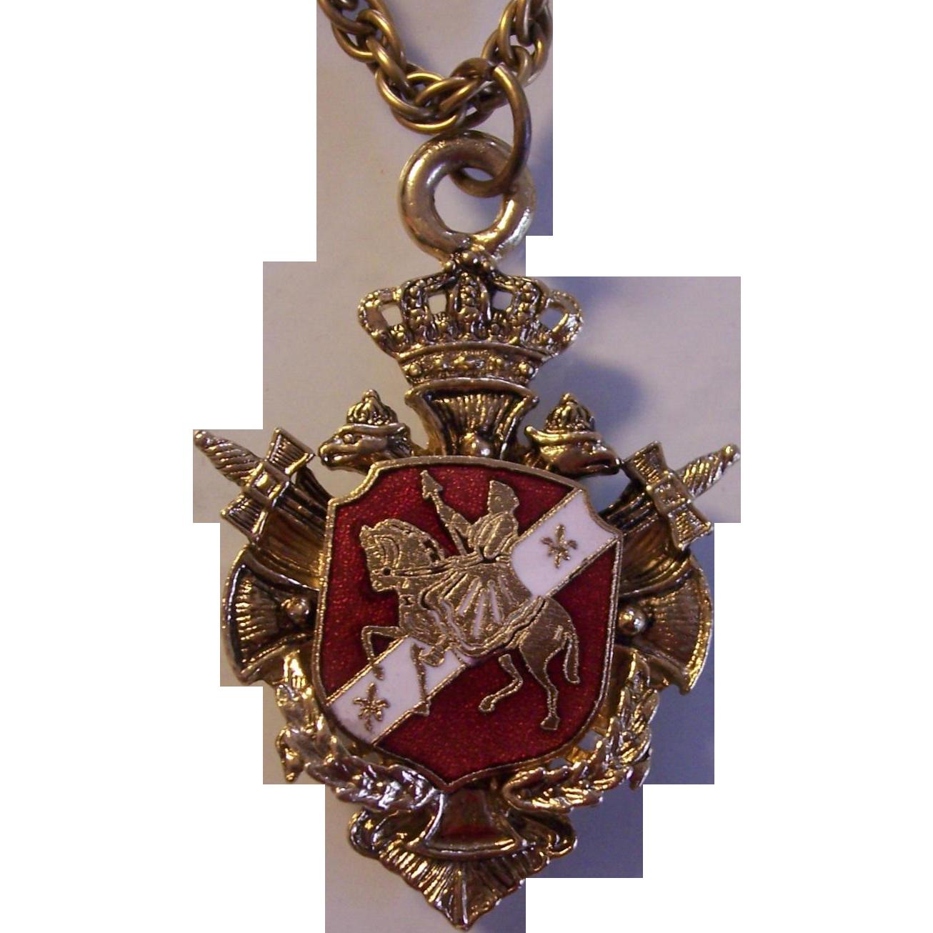 Enamel Heraldic Medallion Pendant Necklace Germany From
