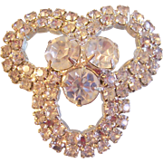 Pretzel Shaped Rhinestone Brooch