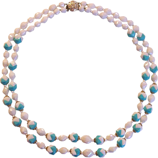 Fun West German Turquoise & White Plastic Beaded Necklace