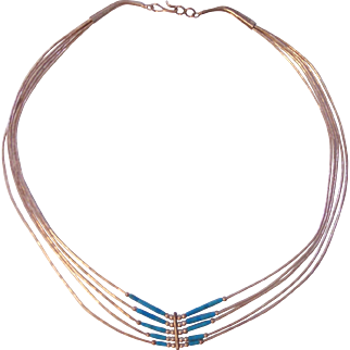 Vintage Sterling Silver Turquoise 5 Strand Necklace