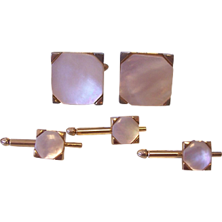 Swank Mother of Pearl Cufflinks and Studs Set