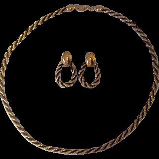Trifari Gold tone & Black Rope Chain & Earrings Set