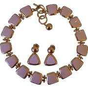 Anne Klein Cream Ivory Enamel Necklace & Earrings Set Gold tone