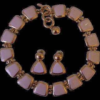 Anne Klein Cream Ivory Enamel Necklace & Earrings Set Gold tone