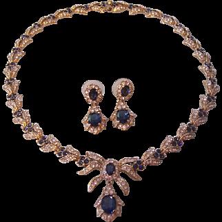 Gorgeous Attwood Sawyer Faux Sapphire Diamond Necklace Earrings Set