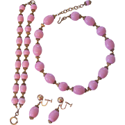 Vintage Pink Glass and Brass Czech Necklace Bracelet Earrings Set