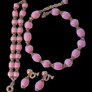 Vintage Pink Glass and Brass Czech Necklace Bracelet Earrings Set