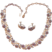 Lisner Aurora Borealis Enamel Topaz Rhinestone Necklace Earrings Set