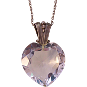 Stunning Crystal Clear Large Sterling Crystal Heart Pendant Necklace