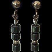Vintage Hematite Sterling Silver Earrings