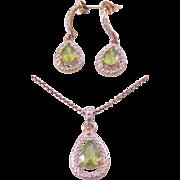 Sterling w/ Green Peridot Pendant Necklace & Earrings
