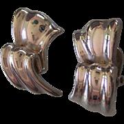 Givenchy Silver tone Ribbed Ribbon Earrings